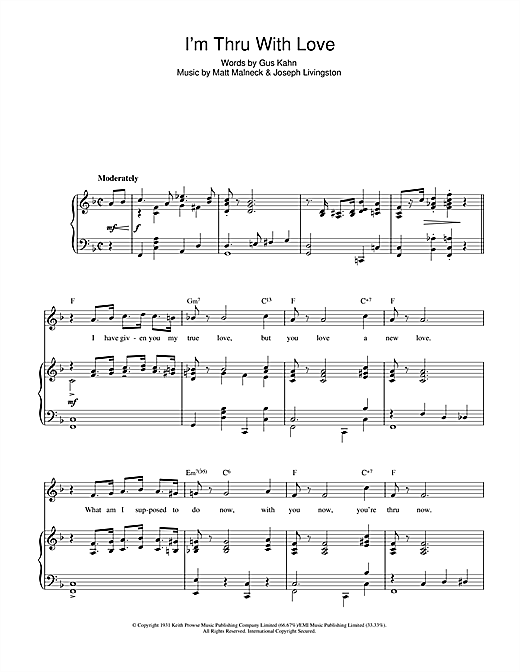 I'm Thru With Love Sheet Music