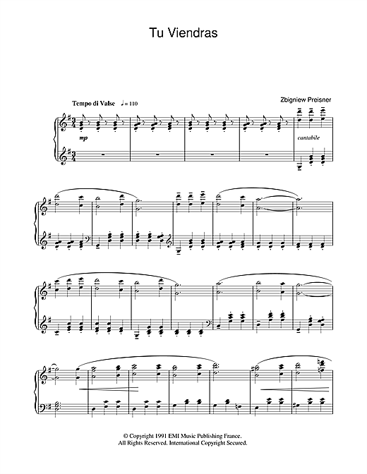 Tu Viendras (from La Double Vie De Veronique) Sheet Music