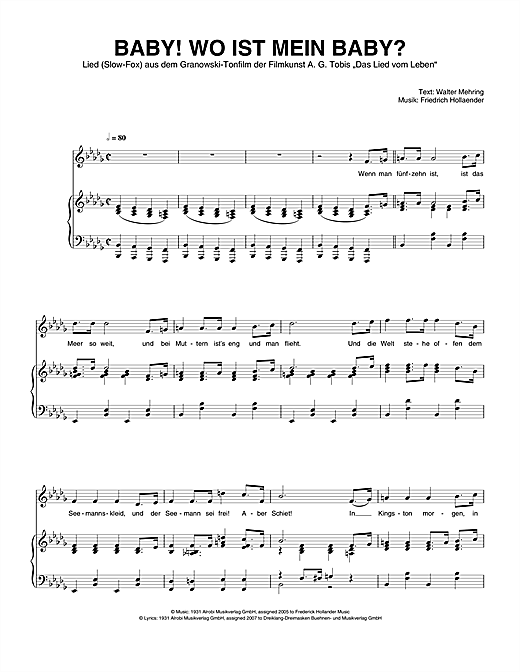 Baby! Wo Ist Mein Baby? Sheet Music