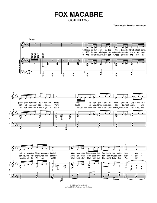 Fox Macabre (Totentanz) Sheet Music