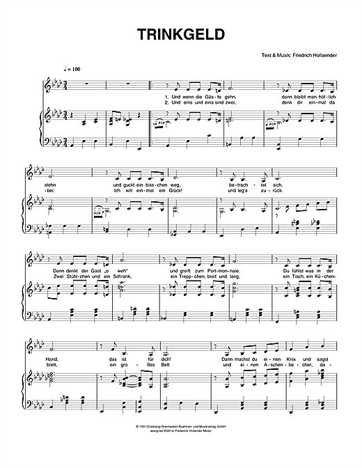Trinkgeld Sheet Music