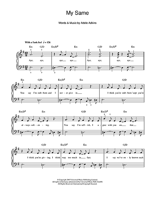 My Same Sheet Music