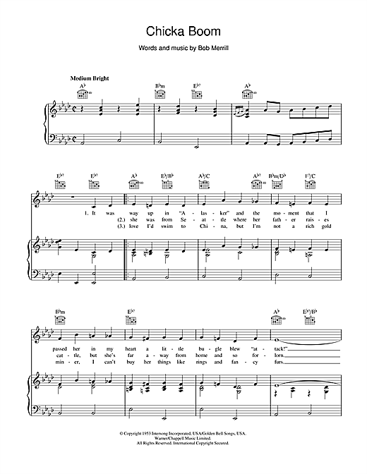 Chicka Boom (Piano, Vocal & Guitar (Right-Hand Melody))
