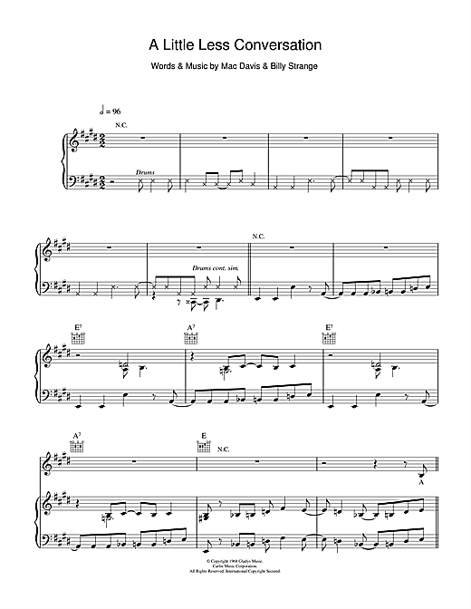 A Little Less Conversation Sheet Music