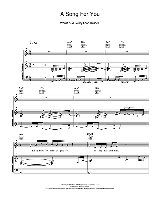 Partition piano A Song For You de Michael Buble - Piano Voix Guitare