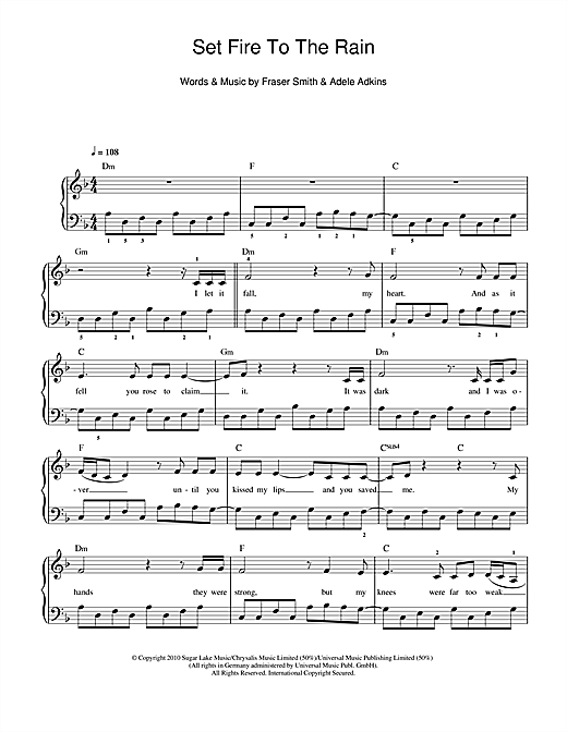 Set Fire To The Rain sheet music by Adele (Beginner Piano – 110939)