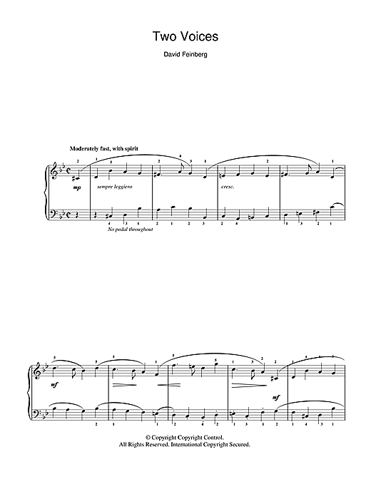 Partition piano Two Voices de David Feinberg - Piano Solo