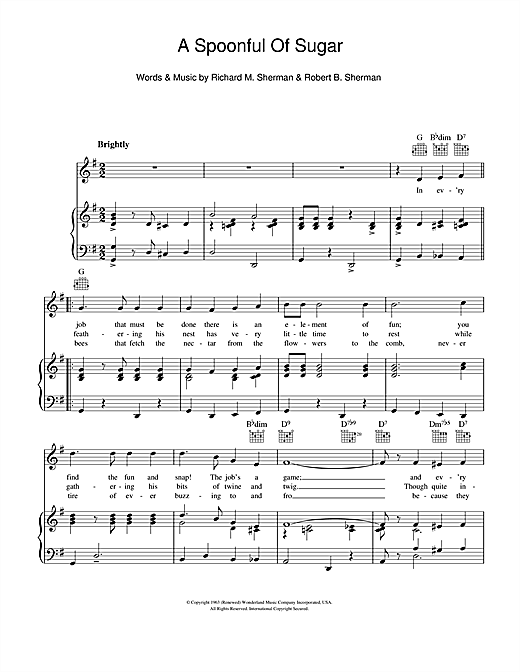 A Spoonful Of Sugar (from Mary Poppins) Sheet Music
