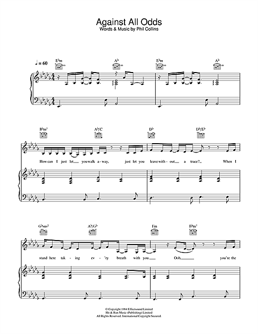 Against All Odds (Take A Look At Me Now) Sheet Music