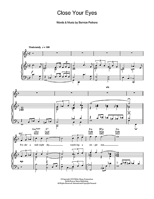 Close Your Eyes Sheet Music