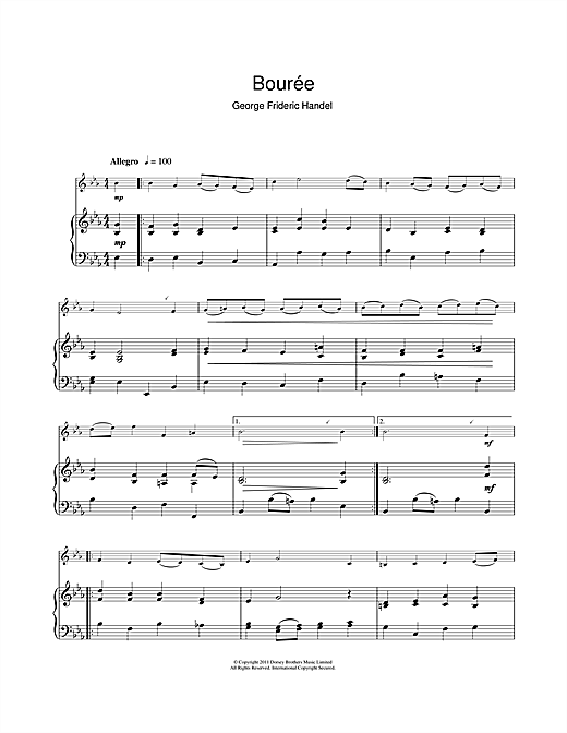 Bouree In G Major Sheet Music