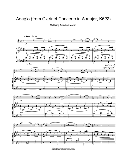 Slow Movement Theme (from Clarinet Concerto K622) Sheet Music