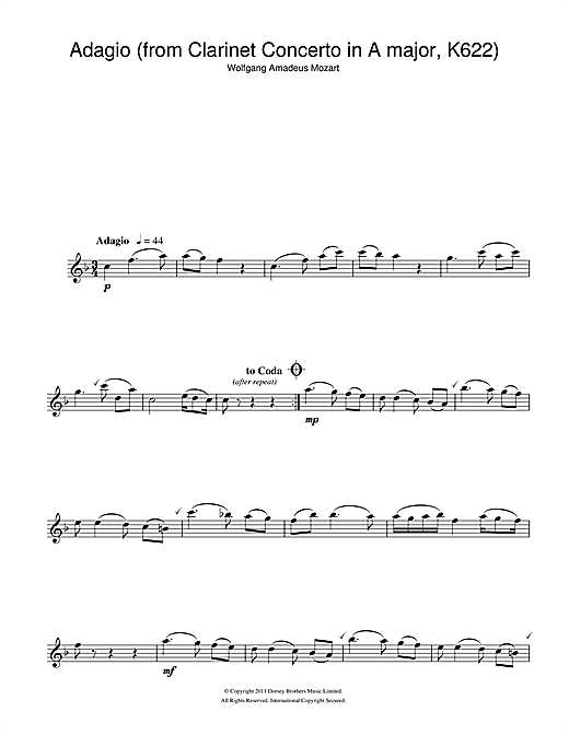 Slow Movement Theme (from Clarinet Concerto K622) (Clarinet Solo)