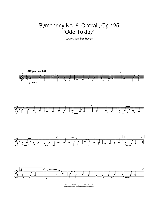 Ode To Joy from Symphony No. 9, Fourth Movement Sheet Music