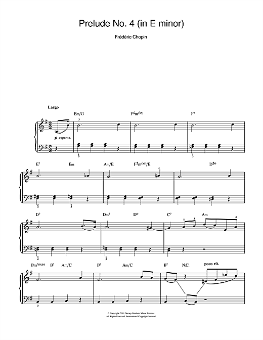 Prelude in E Minor, Op.28, No.4 Sheet Music
