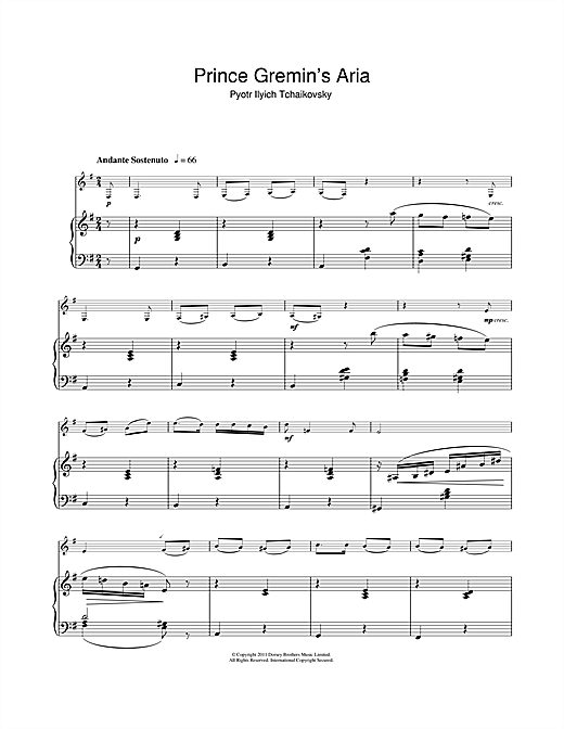 Prince Gremin's Aria (from Eugene Onegin) Sheet Music