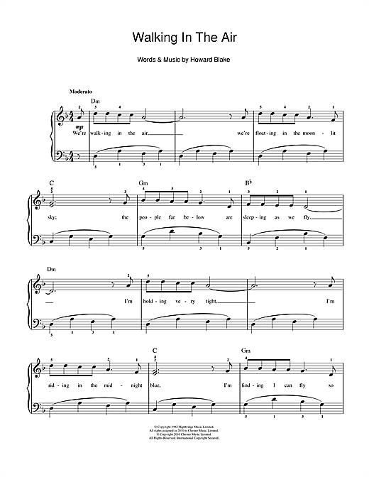 Partition piano Walking In The Air (theme from The Snowman) de Howard Blake - Autre