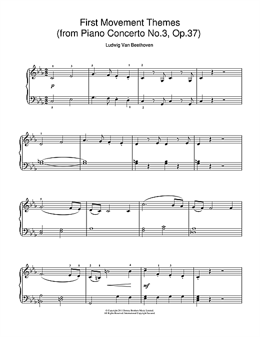 First Movement Themes (from Piano Concerto No.3, Op.37) Sheet Music