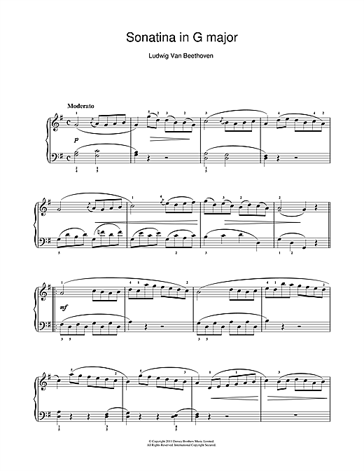 Partition piano Sonatina In G Major (First Movement) de Ludwig van Beethoven - Piano Solo