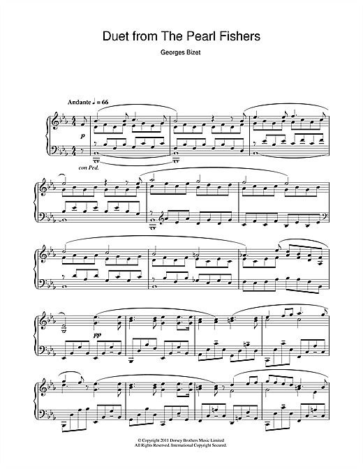 Partition piano Duet from The Pearl Fishers de Georges Bizet - Piano Solo