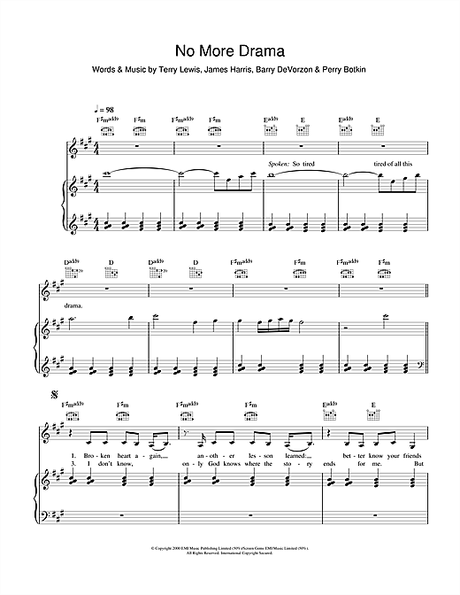 No More Drama Sheet Music