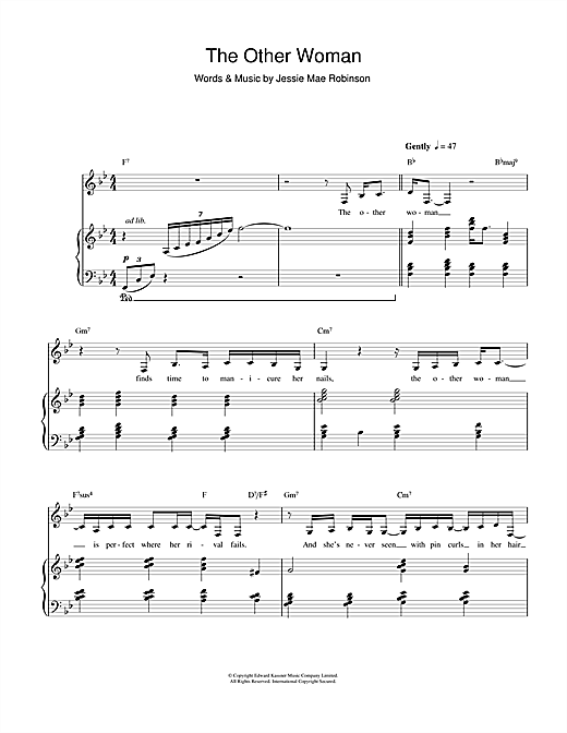 The Other Woman (Piano, Vocal & Guitar)