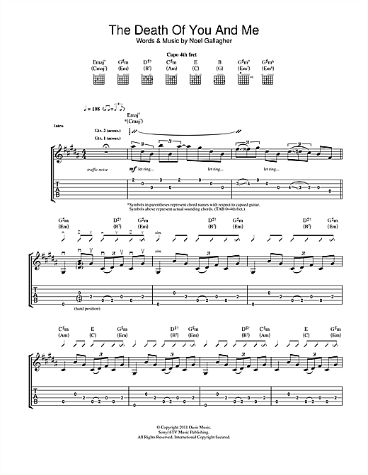 Tablature guitare The Death Of You And Me de Noel Gallagher's High Flying Birds - Tablature Guitare