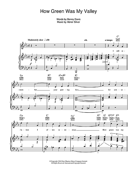 How Green Was My Valley Sheet Music