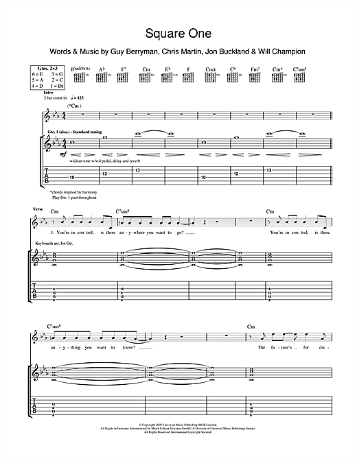 Tablature guitare Square One de Coldplay - Tablature Guitare