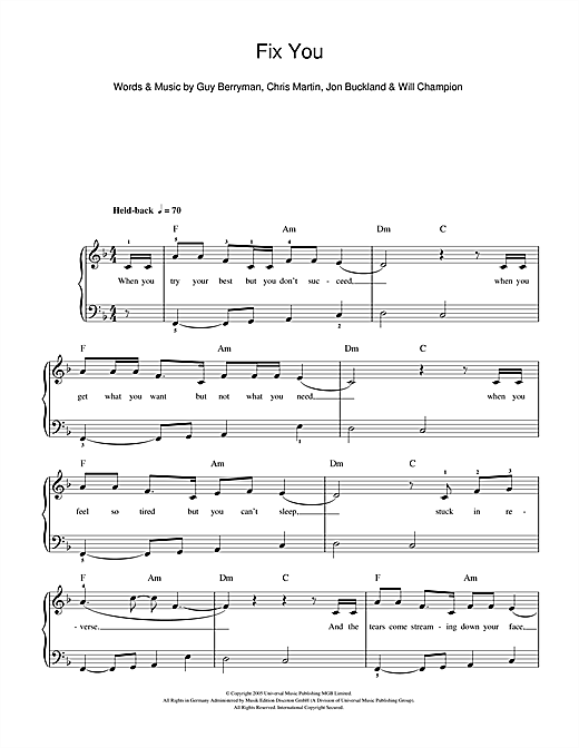 Piano u00bb Fix You Piano Chords - Music Sheets, Tablature, Chords and Lyrics
