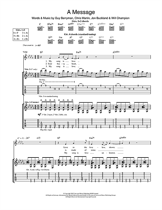 Tablature guitare A Message de Coldplay - Tablature Guitare