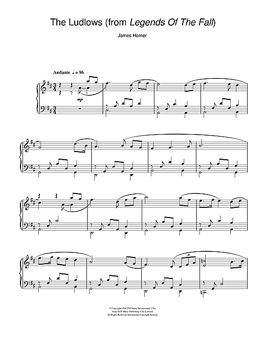 The Ludlows (from Legends Of The Fall) Sheet Music