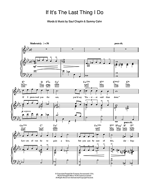 If It's The Last Thing I Do Sheet Music