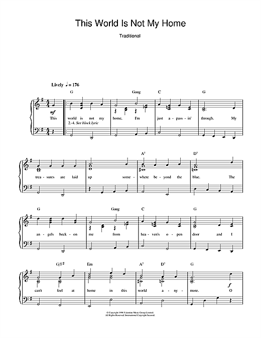 This World Is Not My Home Sheet Music