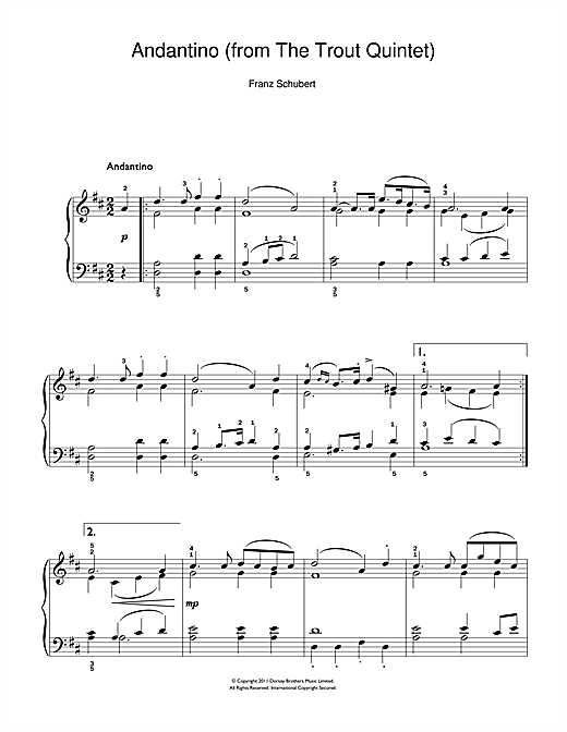 Partition piano Theme From The Trout Quintet (Die Forelle) de Franz Schubert - Piano Facile
