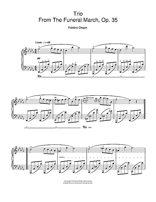 Partition piano Trio From The Funeral March, Op. 35 de Frédéric Chopin - Piano Facile