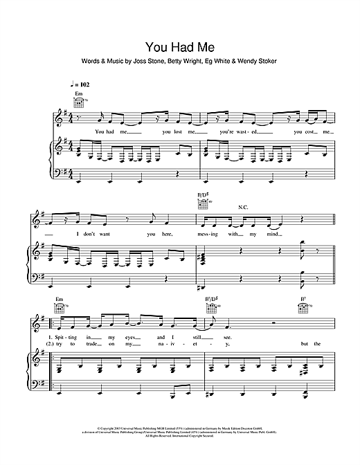 You Had Me Sheet Music