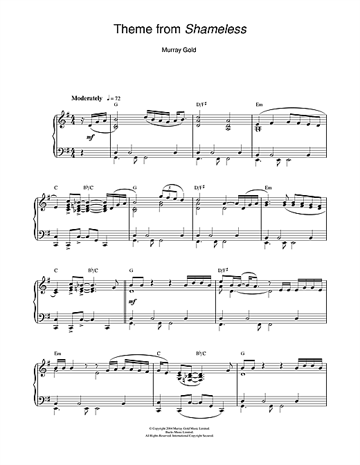 Theme from Shameless Sheet Music
