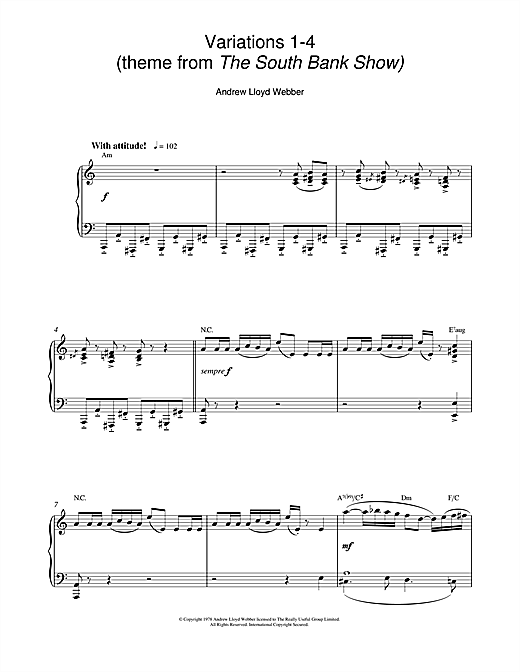Partition piano Variations 1-4 (theme from The South Bank Show) de Andrew Lloyd Webber - Piano Solo
