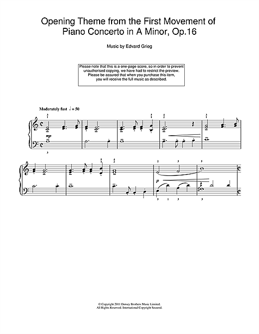 Opening Theme from the First Movement of the Piano Concerto in A Minor, Op.16 Sheet Music