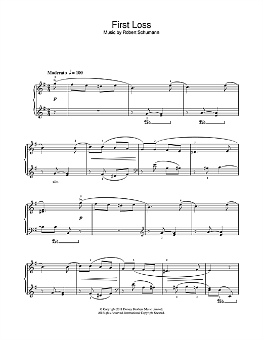 Partition piano First Loss de Robert Schumann - Piano Solo