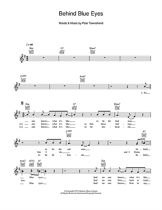 Behind Blue Eyes Sheet Music