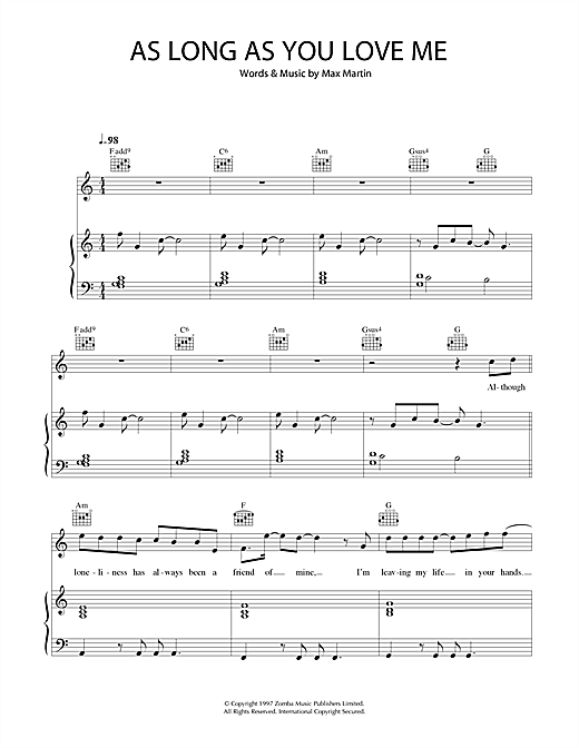 As Long As You Love Me Sheet Music