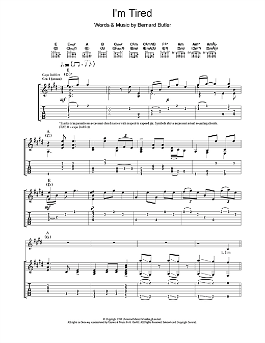 Tablature guitare I'm Tired de Bernard Butler - Tablature Guitare