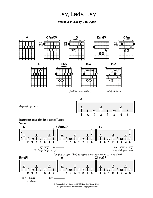 Tablature guitare Lay Lady Lay de Bob Dylan - Guitare
