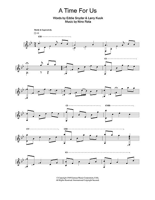 Tablature guitare A Time For Us (Love Theme from Romeo & Juliet) de Nino Rota - Guitare