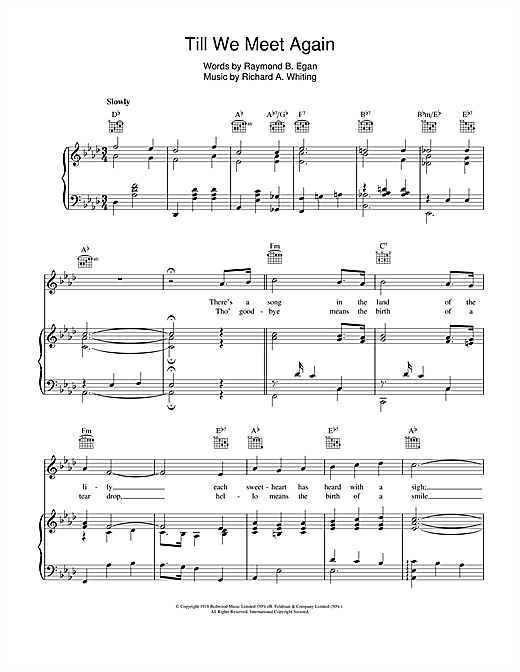 Partition piano Till We Meet Again de Richard A. Whiting - Piano Voix Guitare (Mélodie Main Droite)