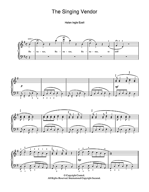 Partition piano The Singing Vendor de Helen Ingle Ezell - Piano Solo