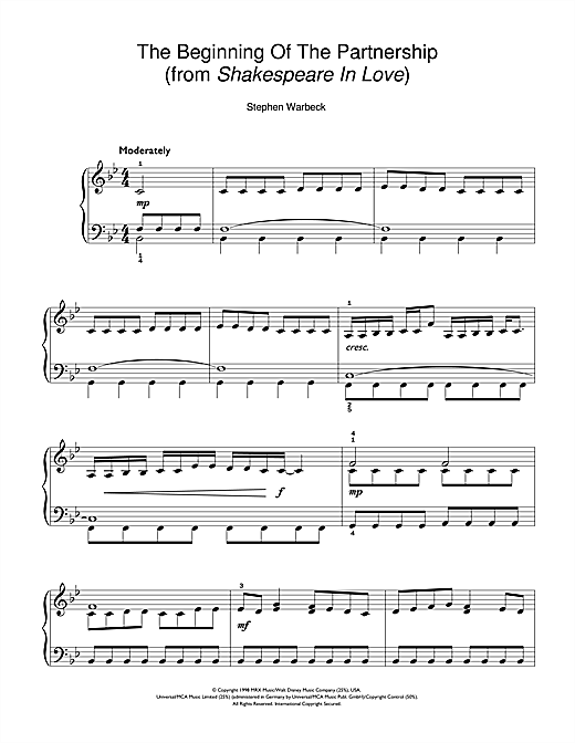 Partition piano The Beginning Of The Partnership (from Shakespeare In Love) de Stephen Warbeck - Piano Facile