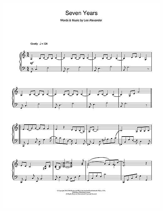 Seven Years Sheet Music